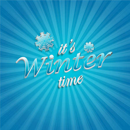 Winter time poster. Background with snowflake Foto de archivo