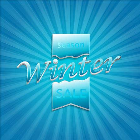 Winter sale in paper style on bright blue background, vector illustration. Foto de archivo