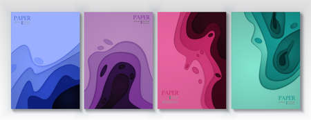 Vertical banners set with 3D abstract background and paper cut shapes. Vector design layout for business presentations, flyers, posters and invitations. Vectores