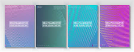 Minimal covers vector design. Geometric halftone gradients. Title page layouts collection. Halftone lines texture book covers. Rectangle poster background templates.