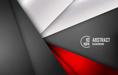 Red triangle vector background geometric overlap layer on black space for text and background design