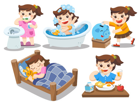 The daily routine of a cute girl on a white background. [sleep, brush teeth, take a bath, eat, saving money] Ilustração