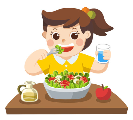 A Little girl happy to eat salad. she love vegetables. Ilustracja