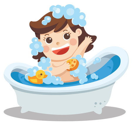 A baby girl taking a bath in bathtub with lot of soap lather and rubber duck.