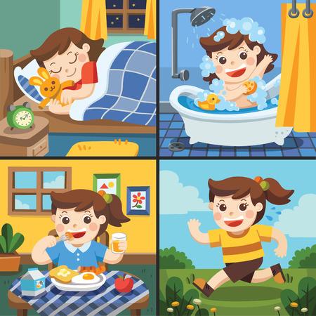 Ilustración de la rutina diaria de una linda chica. [dormir, tomar un baño, comer, correr]