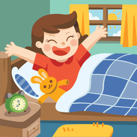 Illustration of A Little girl wake up in the morning. Ilustração