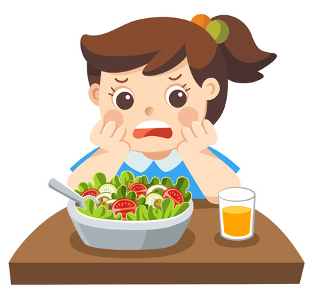 Isolated vector. Unhappy girl doesnt want eat healthy vegetables. Ilustração
