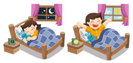 Vecteur isolé Une petite fille qui dort ce soir, bonne nuit de beaux rêves. et elle se réveille le matin. Vecteurs
