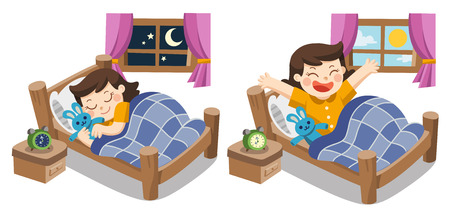 Isolated vector. A Little girl sleeping on tonight, good night sweet dreams. and she wake up in the morning.