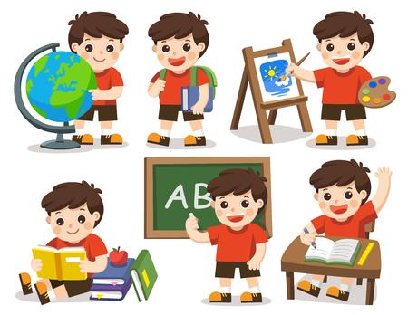 Vecteur isolé Retour à l'école. Un étudiant mignon étudie à l'école, dessinant une image, lisant des livres.