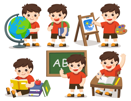 Isolated vector. Back to school. A cute student study in school , drawing a picture, reading books.