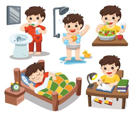 Vetor isolado. A rotina diária de um menino bonito em um fundo branco. [Dormir, escovar os dentes, tomar banho, comer salada, ler].