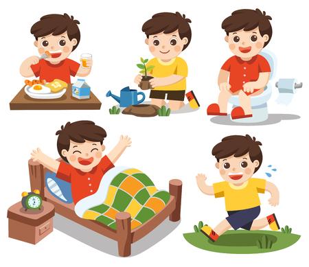 Vecteur isolé. La routine quotidienne d'un garçon mignon sur fond blanc. [Se réveiller, manger, assis sur les toilettes, courir, planter un arbre] Banque d'images - 82606708