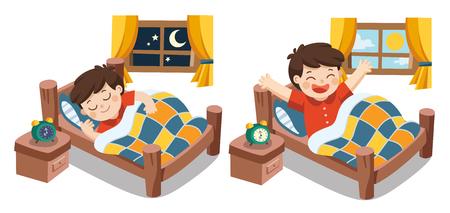 Geïsoleerde vector. Een kleine jongen die vanavond dromen, goede nacht en zoete dromen slaapt. hij wordt 's morgens wakker. Vector Illustratie