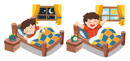 Isolated vector. A Little boy sleeping on tonight dreams, good night and sweet dreams. he wake up in the morning.