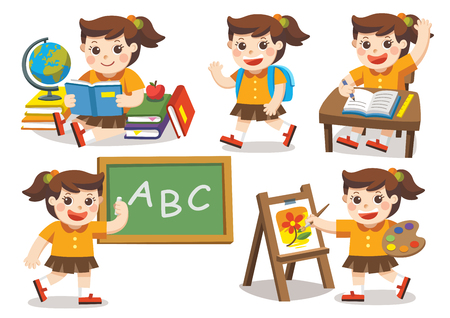 Isolated vector. Back to School. Cute children have fun and sitting at school desk and hand up to answer in class. A cute girl look up with interest and reading.