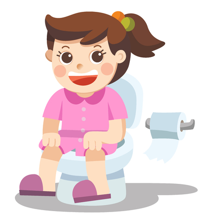 Isolated vector. A Little girl is sitting on the toilet.