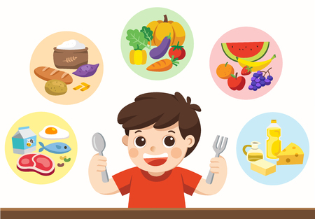 Isolated vector. A cute boy with The five food group. Let's get something to eat! Stok Fotoğraf - 83083850