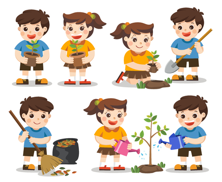 Isolated vector. Set of cute kids volunteers. Save Earth. they planted and watering young trees. A cute boy gathering garbage.
