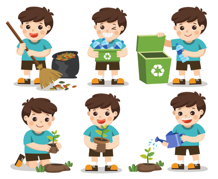 Isolated vector. Set of A cute boy. Save Earth. Waste recycling. Girls planted and watering young trees. He is gathering garbage and plastic waste for recycling.