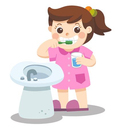Geïsoleerde vector. Een klein meisje, die de tanden in de ochtend poetst.