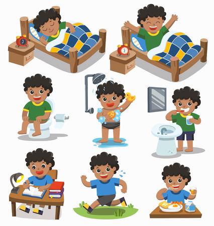 Vector aislado La rutina diaria del muchacho afroamericano en un fondo blanco. [Dormir, despertar, comer, sentarse en el baño, correr, cepillarse los dientes, tomar una ducha y leer]