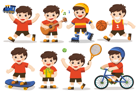 Vector aislado conjunto de actividades de un niño: Un niño lindo jugando con juguetes. Jugar al deporte, incluyendo baloncesto, atletismo, tenis, bicicleta, patinaje sobre ruedas. Tocando la guitarra y cantando felizmente Teniendo presente. Ilustración de vector