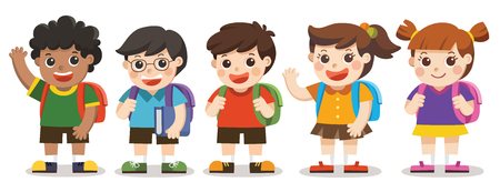 Isolated vector. Back to school,Cute kids go to school , Set of diverse Kids and Different nationalities, isolated on white background.