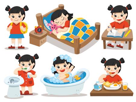 Isolierter Vektor. Die tägliche Routine der asiatischen Mädchen auf einem weißen Hintergrund. [schlafen, Zähne putzen, ein Bad nehmen, essen, Hausaufgaben machen] Standard-Bild - 83853025