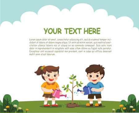 For Save The Earth. Template for advertising brochure. illustration of Kids is planting small plant in garden. Vectores