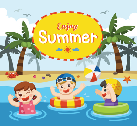 boy swim: Happy kids play and swim at the sea.Template for advertising brochure.