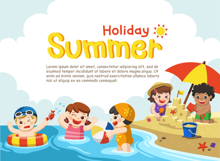 Happy kids play and swim at the beach.Template for advertising brochure. Stock Vector - 83853035