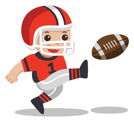 Sport boys. A cute boy playing American football. Illustration