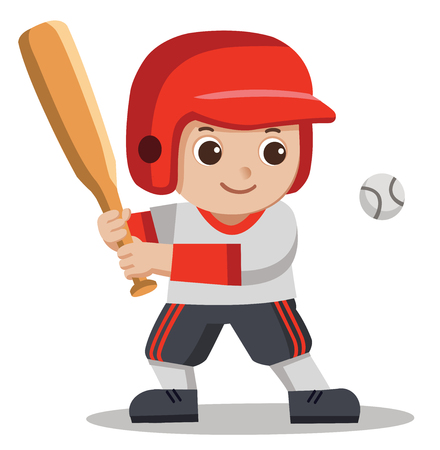 A Cute Boy hitting ball with wooden bat. Baseball player