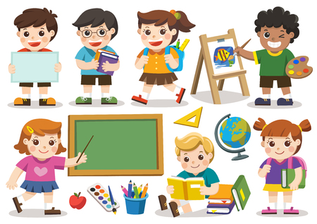 Back to school. Set of adorable student study in school. Isolated vector