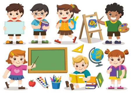 De vuelta a la escuela. Conjunto de estudio adorable estudiante en la escuela. Vector aislado Ilustración de vector
