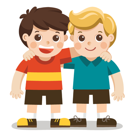 Two boys smile, hugging. Happy kids best friends.