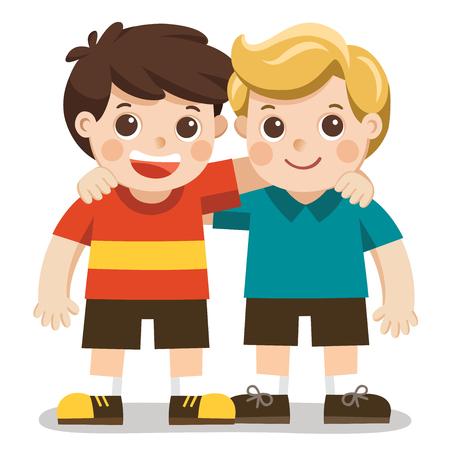 Dois meninos sorriem, se abraçando. Crianças felizes melhores amigas.