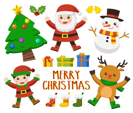 Christmas character set [Deer, Santa, Elf ,Tree and snowman] Set of Happy Merry Christmas.