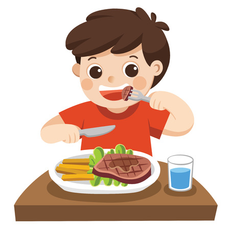A cute boy is eating steak with vegetables for a lunch. Vectores
