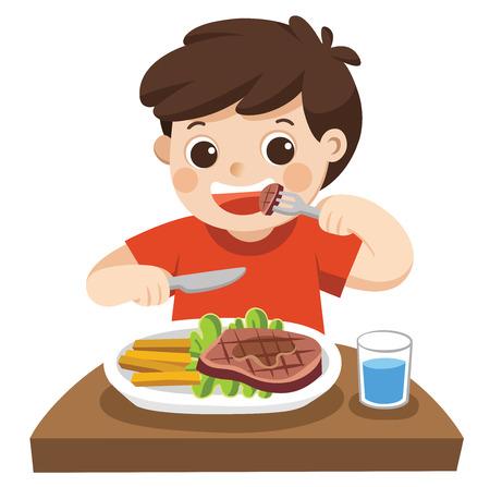 Un garçon mignon mange un steak avec des légumes pour un déjeuner. Vecteurs