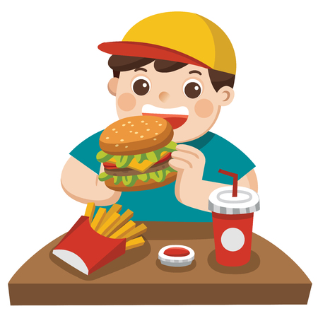 A cute Boy eat hamburger with french fries, and soda. he eat fast food.