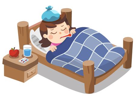 Linda chica enferma duerme en la cama con un termómetro en la boca y se siente tan mal con fiebre. Ilustración de vector