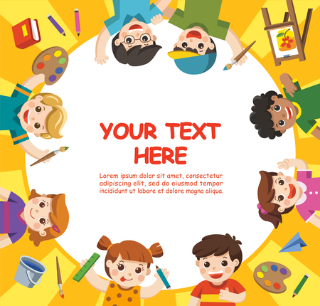 Back to School. Art kids.  Cute children have fun and ready to get painting together. Template for advertising brochure. Children look up with interest. Illustration