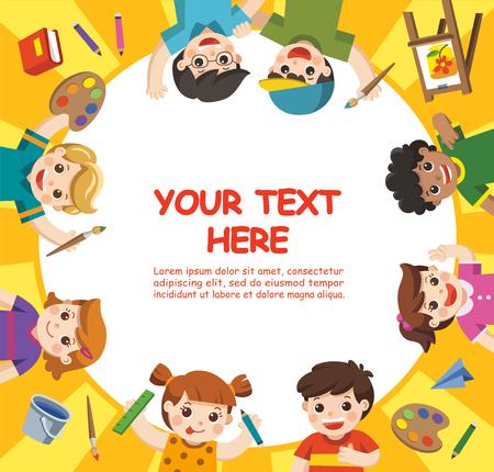 Zurück zur Schule. Kunstkinder. Süße Kinder haben Spaß und sind bereit, gemeinsam zu malen. Vorlage für Werbebroschüre. Kinder schauen interessiert auf.