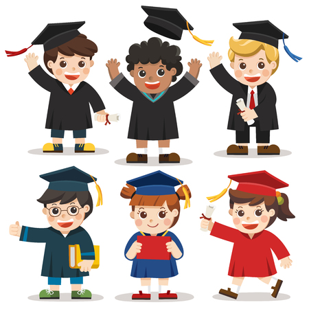 Set of diverse college or university graduation students. Different nationalities and dress styles. Congratulation Kids.