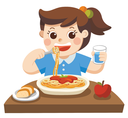 A Little girl happy to eat Spaghetti with Fork on Plate.
