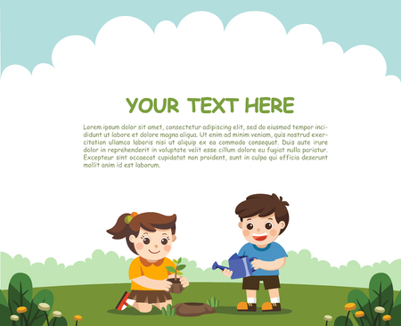 Cute kids volunteers planted and watering young trees. For Save Earth. Template for advertising brochure.