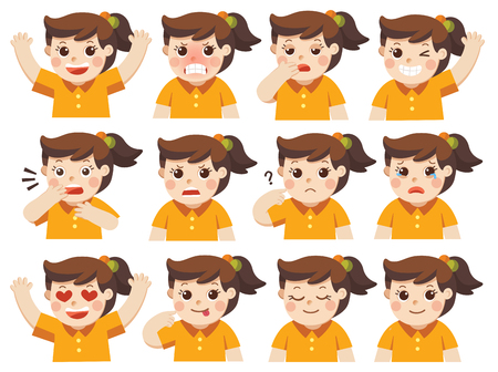 Isolated vector Set of Adorable Girl facial emotions. Girl face with different expressions. Schoolgirl portrait avatars. Variety of emotions teen guy.
