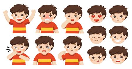 Conjunto de emociones faciales de Adorable Boy. Cara de niño con diferentes expresiones. Avatares de retrato de colegial. Variedad de emociones chico adolescente.